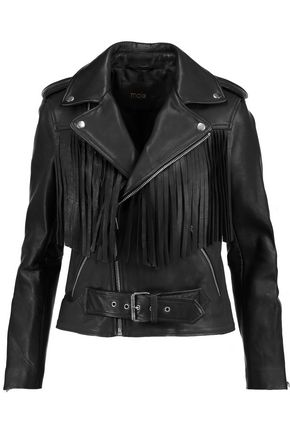 MAJE Fringed leather biker jacket