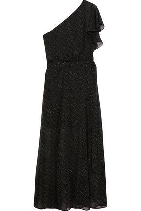 MAJE One-shoulder stud-embellished georgette maxi dress