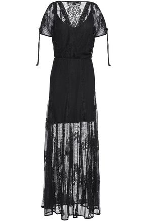 MAJE Wrap-effect lace maxi dress