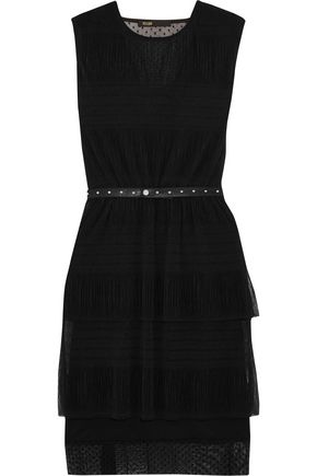 MAJE Belted crinkled-mesh mini dress