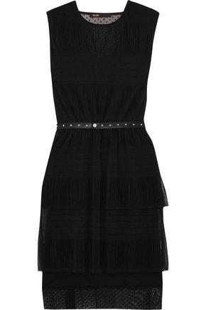 MAJE Belted crinkled-mesh mini dress