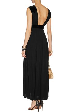 MAJE Velvet-trimmed jacquard maxi dress