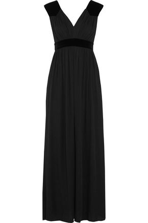 MAJE Velvet-trimmed jacquard gown