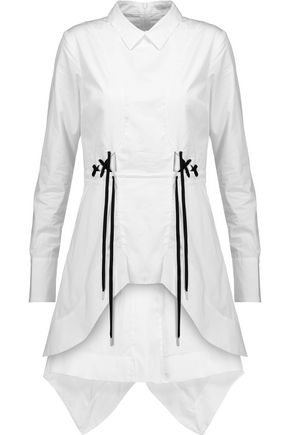 Asymmetric lace-up cotton-poplin mini dress
