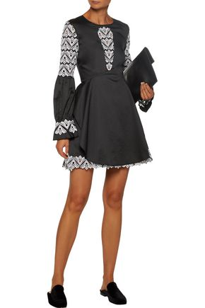 JONATHAN SIMKHAI Guipure lace-paneled cotton-poplin mini dress