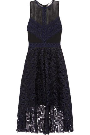JONATHAN SIMKHAI Asymmetric pleated guipure  and Leavers lace dress