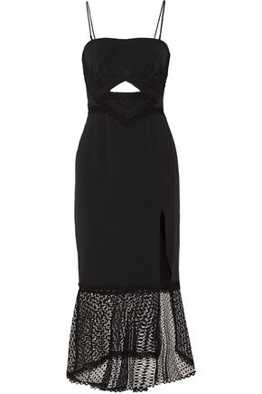 JONATHAN SIMKHAI Fluted cutout embroidered crepe midi dress