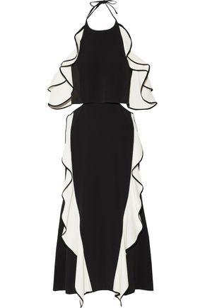 JONATHAN SIMKHAI Cold-shoulder ruffled crepe halterneck dress