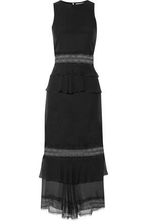 JONATHAN SIMKHAI Lace-paneled ruffled crepe midi dress