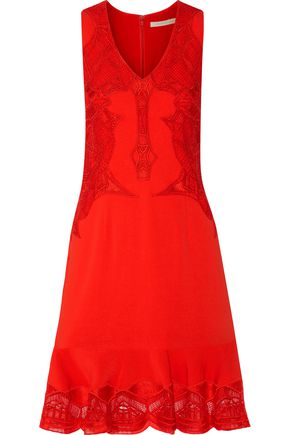 JONATHAN SIMKHAI Lace-paneled crepe dress