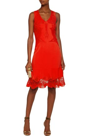 JONATHAN SIMKHAI Lace-paneled crepe dress