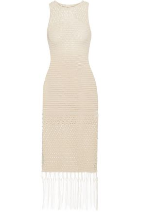 JONATHAN SIMKHAI Faux pearl-embellished crocheted cotton-blend dress