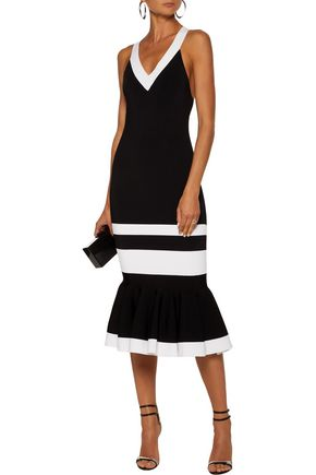 JONATHAN SIMKHAI Fluted striped stretch-knit midi dress