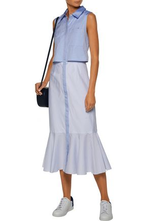 JONATHAN SIMKHAI Pleated paneled cotton Oxford and striped cotton midi dress