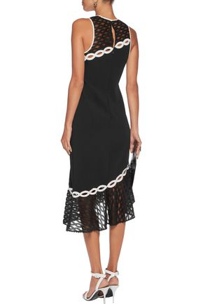JONATHAN SIMKHAI Asymmetric lace and broderie anglaise-trimmed crepe dress