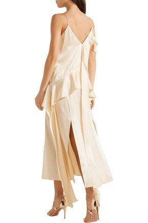 JONATHAN SIMKHAI Ruffled silk-satin midi dress