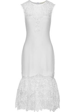 JONATHAN SIMKHAI Corded mesh-paneled crepe midi dress