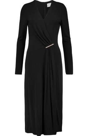 JASON WU Embellished draped wrap-effect crepe midi dress