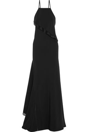 JASON WU Asymmetric silk-organza trimmed stretch-cady gown