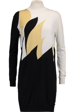 VIONNET Intarsia wool, cashmere and silk mini turtleneck dress