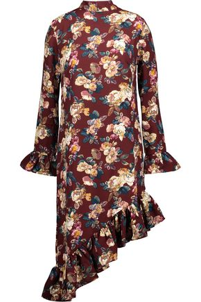 W118 by WALTER BAKER Gayle asymmetric ruffled floral-print crepe de chine dress