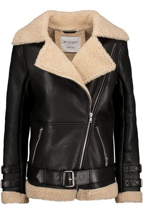 W118 by WALTER BAKER Drew faux shearling-trimmed leather coat