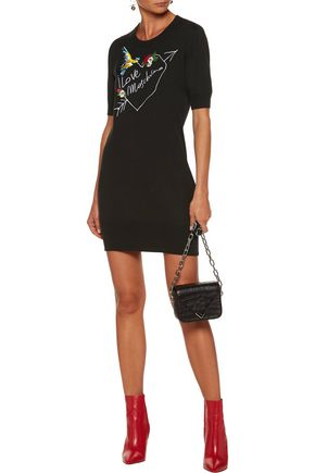 LOVE MOSCHINO Embroidered stretch-knit cotton mini dress