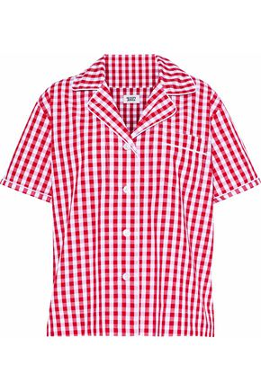 SLEEPY JONES Gingham cotton pajama top