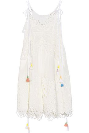 CHLOÉ Broderie anglaise tulle and linen-blend dress
