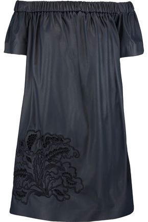 MSGM Off-the-shoulder embroidered faux leather mini dress