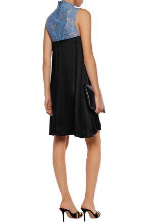 MSGM Corded lace-paneled hammered satin mini dress