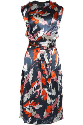 MSGM Belted printed silk-satin dress