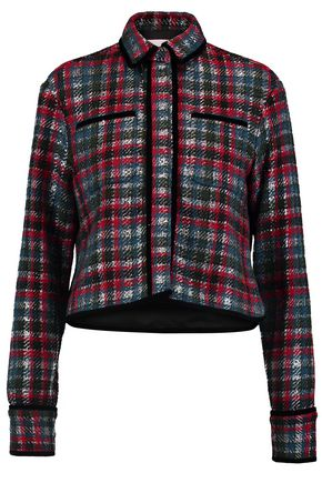 MSGM Velvet-trimmed wool-blend jacquard jacket