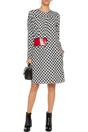 MSGM Sequin-embellished polka-dot silk dress