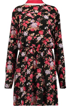 MSGM Floral-print silk mini dress
