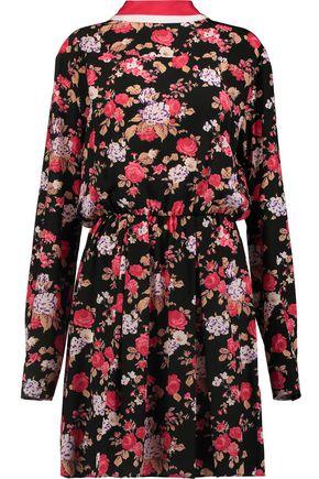 MSGM Floral-print silk mini dress