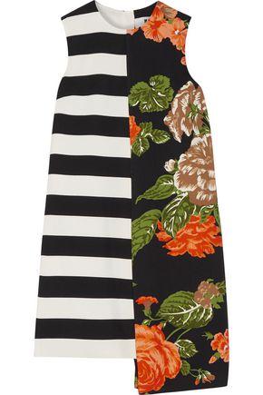 MSGM Asymmetric printed crepe mini dress