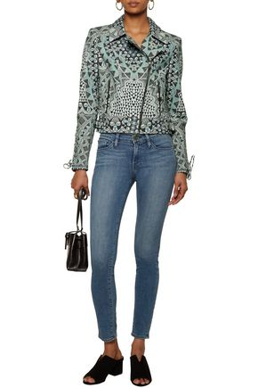 CAMILLA Lace-up printed leather biker jacket