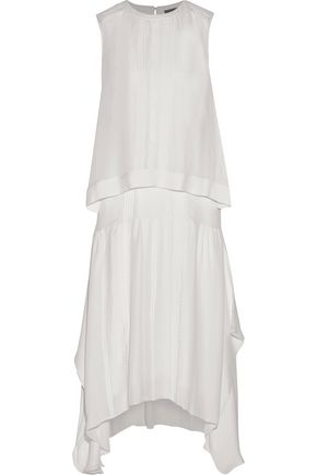 BELSTAFF Ama layered pintucked silk midi dress
