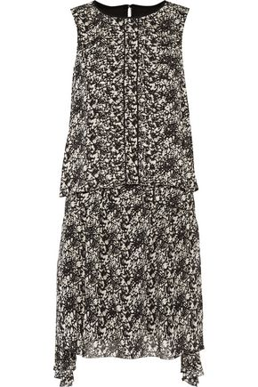 BELSTAFF Lindsey asymmetric layered printed chiffon mini dress