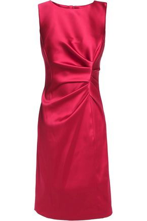 OSCAR DE LA RENTA Asymmetric gathered satin dress