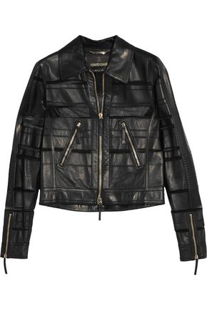 ROBERTO CAVALLI Faux leather and tulle jacket