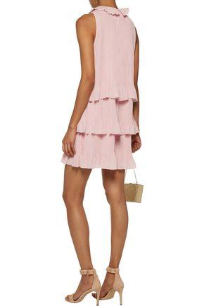 GIAMBA Tiered crinkled-gauze mini dress