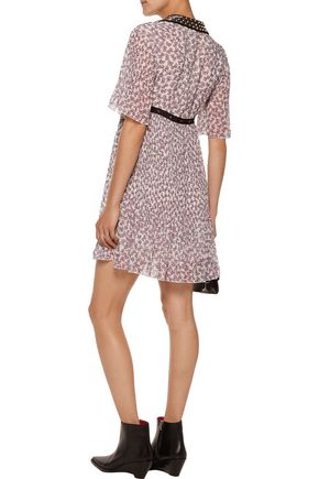 GIAMBA Embellished pleated printed crepe de chine mini dress