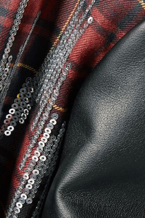 GIAMBA Paneled sequin-embellished plaid wool-blend bomber jacket