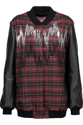 GIAMBA Paneled sequin-embellished plaid wool-blend bomber jacket