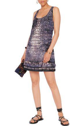 ROBERTO CAVALLI Ruffle-trimmed printed silk-twill mini dress