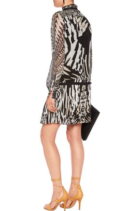 ROBERTO CAVALLI Pleated printed silk-chiffon mini dress