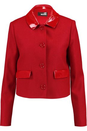LOVE MOSCHINO Faux patent-leather trimmed wool jacket