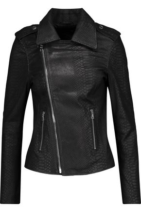 RTA Nico croc-effect stretch-nubuck biker jacket